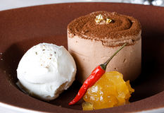 Chocolate dessert. With ice cream and pepper Royalty Free Stock Photos