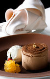 Chocolate dessert. With ice cream and pepper Royalty Free Stock Photography