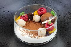 Chocolate dessert with fruit. stock images