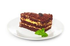 Chocolate dessert with mint Stock Photo
