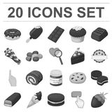 Chocolate Dessert monochrome icons in set collection for design. Chocolate and Sweets vector symbol stock web Stock Photo