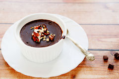Chocolate dessert with nuts Stock Images