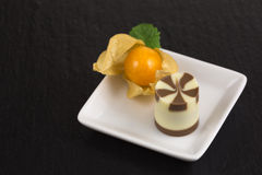 Chocolate dessert with physalis Stock Photos