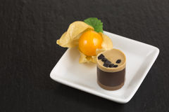 Chocolate dessert with physalis Stock Photography