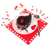 Chocolate dessert in a romantic serving Stock Photo