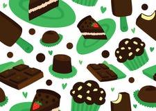Chocolate Dessert Seamless Background. Tasty Chocolate Dessert Seamless Background vector illustration