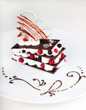 Chocolate dessert with strawberries. And whipped cream Stock Photography