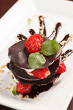 Chocolate dessert with strawberry Stock Image