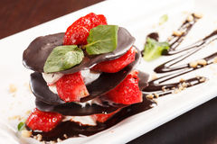 Chocolate dessert with strawberry Stock Photos