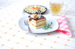 Chocolate dessert with tea Stock Images