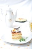 Chocolate dessert with tea Royalty Free Stock Photo