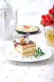 Chocolate dessert with tea and napkin Stock Photo