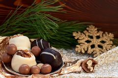 Chocolate dessert treats for the holiday Royalty Free Stock Images