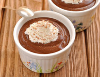 Chocolate dessert with whipped cream Stock Image