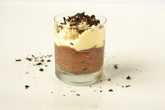 Chocolate dessert with whipped cream Stock Photos
