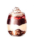 Chocolate dessert whis cream and jeam Royalty Free Stock Photos
