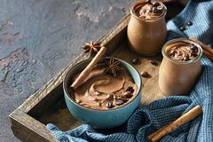 Free Chocolate Dessert With Coffee And Spices In A Wooden Tray. Rustic Style. Spicy Chocolate And Coffee Mousse Stock Photo - 192963320