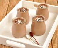 Chocolate desserts. Panna cotta in jars stock images