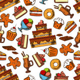 Chocolate desserts and pastries seamless pattern Royalty Free Stock Photo