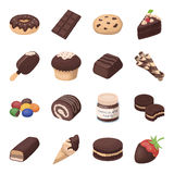 Chocolate desserts set icons in cartoon style. Big collection of chocolate desserts vector symbol stock illustration. Chocolate desserts set icons in cartoon stock illustration