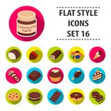 Chocolate desserts set icons in flat style. Big collection of chocolate desserts vector symbol stock illustration Stock Image
