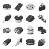 Chocolate desserts set icons in monochrome style. Big collection of chocolate desserts vector symbol stock illustration Royalty Free Stock Photos