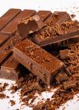 Chocolate Detail. Raw dark chocolate bars  on white background Stock Photos