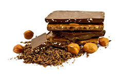 Chocolate different with Hazelnuts Royalty Free Stock Photo