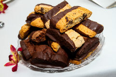 Chocolate Dipped Biscotti's. Tasty Chocolate dipped Biscotti cookies displayed on a glass dish royalty free stock photography