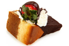 Chocolate Dipped Cheesecake and Strawberry Stock Photography