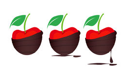 Chocolate-dipped Cherries. Delicious chocolate-covered Cherries Icons Royalty Free Stock Photo
