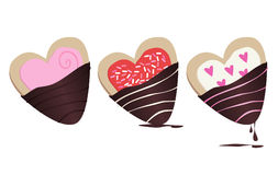 Chocolate-dipped Cookies. Delicious chocolate-covered Cookie Icons Stock Photos