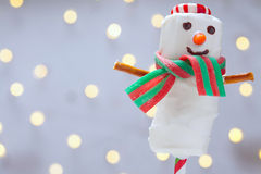 Chocolate dipped marshmallow snowman Royalty Free Stock Image