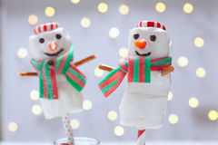 Chocolate dipped marshmallow snowman Stock Photo