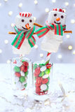 Chocolate dipped marshmallow snowman Stock Photo