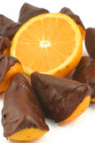 Chocolate dipped orange Stock Image