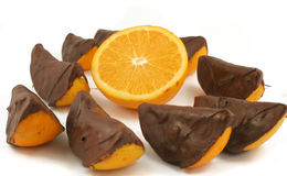Chocolate dipped orange Royalty Free Stock Photos
