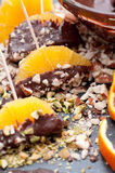 Chocolate Dipped Orange Slices. Orange slices dipped in melted chocolate and crushed nuts Stock Images