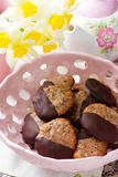 Chocolate dipped seed cookies.style vintage Royalty Free Stock Photography