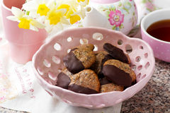 Chocolate dipped seed cookies.style vintage Stock Image
