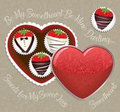 Chocolate-dipped Strawberries Fancy Heart-shaped Box.  Royalty Free Stock Photo