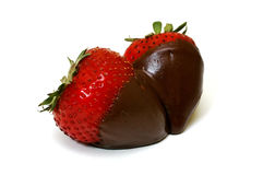 Chocolate Dipped Strawberries Isolated Stock Photos