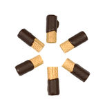 Chocolate dipped wafer rolls Stock Photo