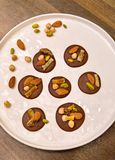Chocolate discs - Mediants. Tradional French Christmas dessert - homemade Royalty Free Stock Photo