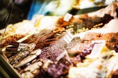 Chocolate on Display in Italian Shop stock photos