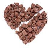 Chocolate do coração quebrado. Fotografia de Stock