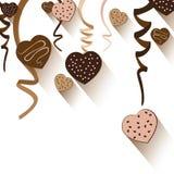 Chocolate do dia e do coração de Valentim isolado no fundo branco Vector o partido do dia de Valentim e o coração completo no fun Imagens de Stock