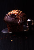 Chocolate do queque com porcas Imagens de Stock