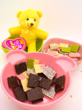 Chocolate and doll decorate theme romance and nice Royalty Free Stock Photos