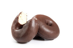 Chocolate donut. With a bite, isolated Royalty Free Stock Photos